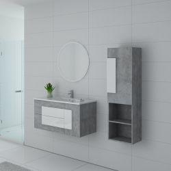 Meuble de salle de bain simple vasque CASTELLO 1000 Béton et Blanc
