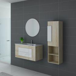 Meuble vasque colonne et miroir CASTELLO 1000 Scandinave et Blanc