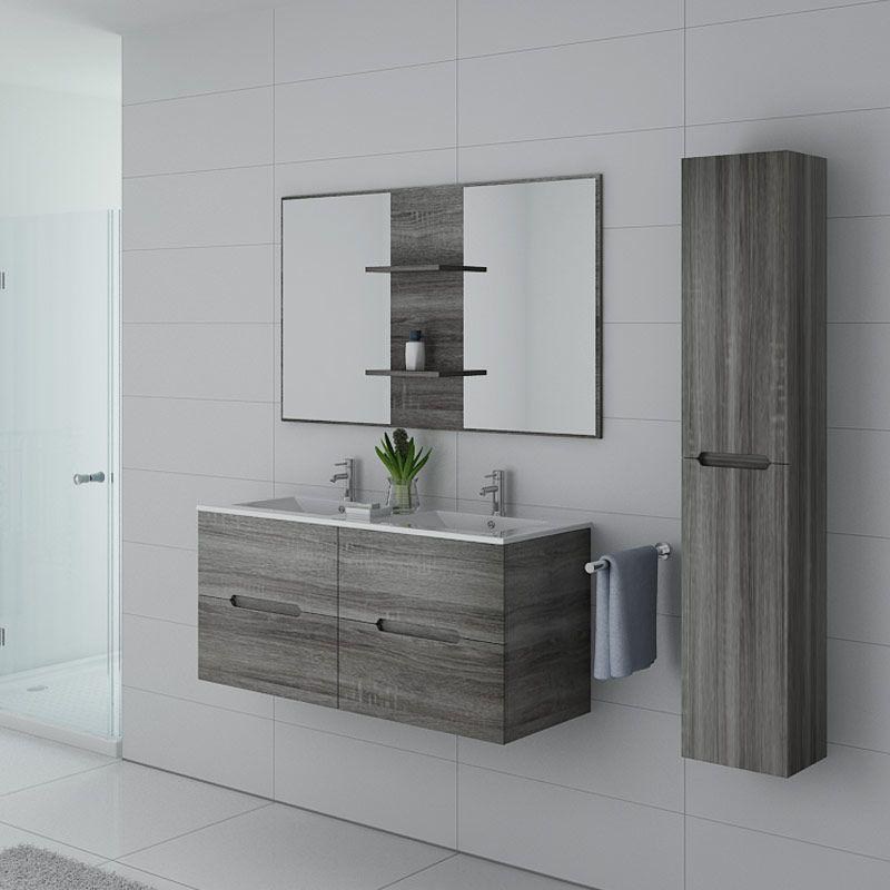 Meubles de salle de bain double vasque MILAZZO Chêne Gris