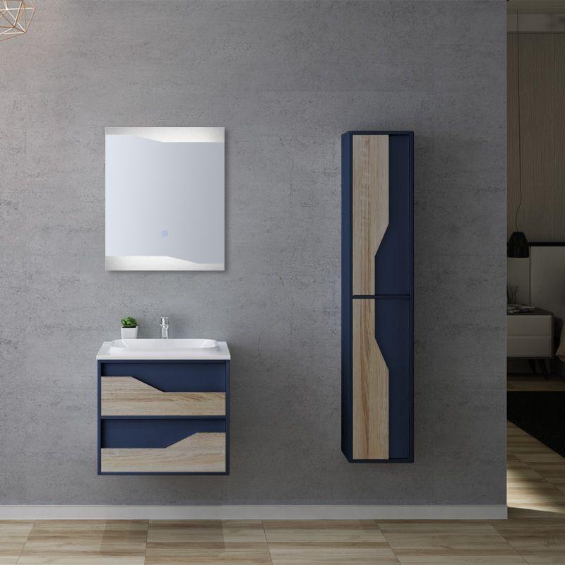 Meuble salle de bain URBINO 600 Scandinave et Bleu Saphir