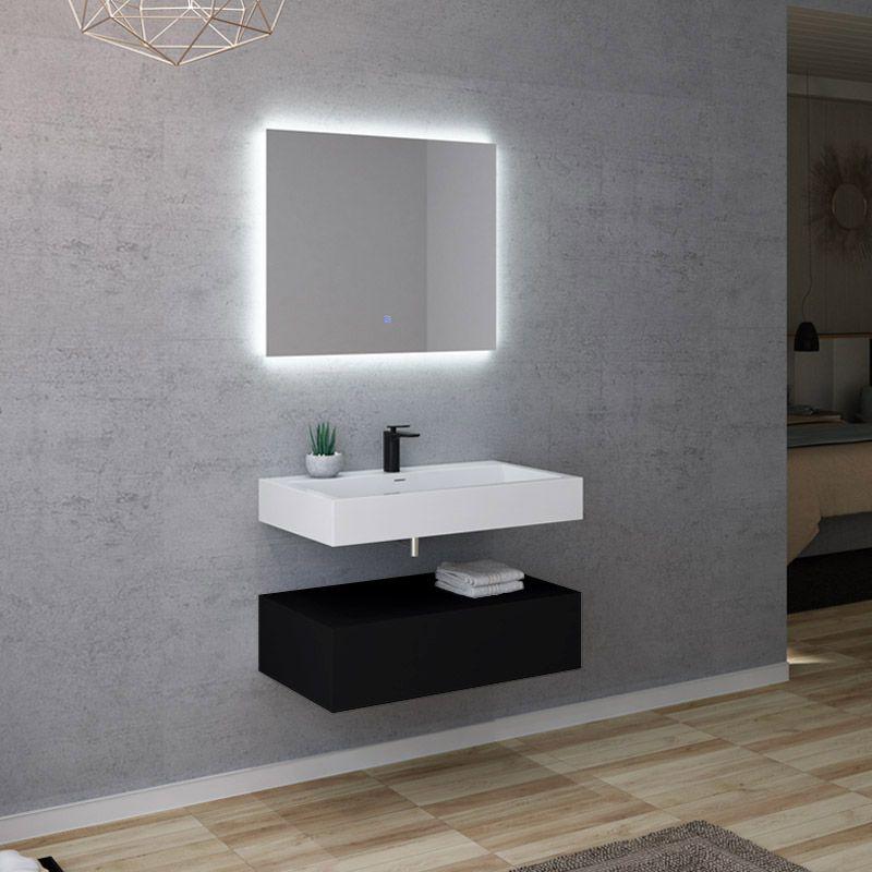 Meuble salle de bain AVELLINO 800N Blanc et noir