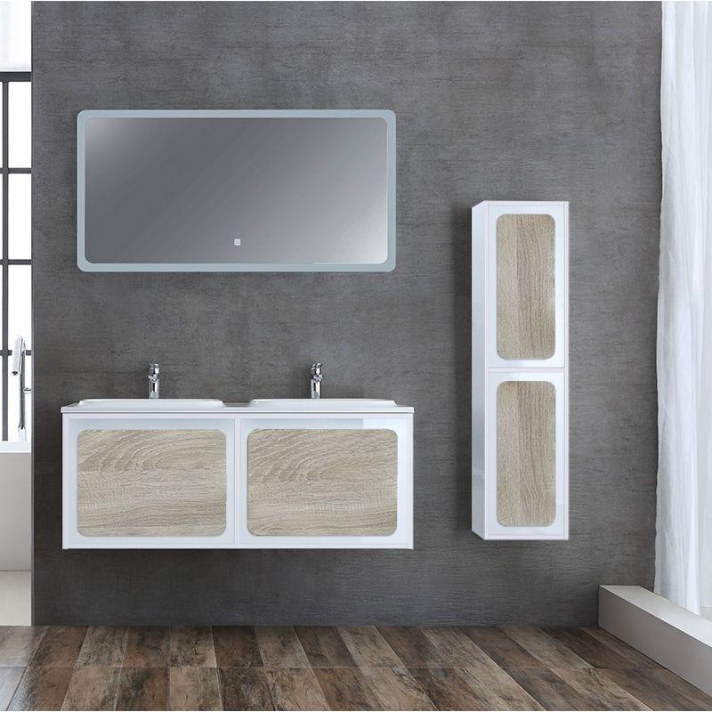Meuble salle de bain ROVIGO 1200 Scandinave et Blanc