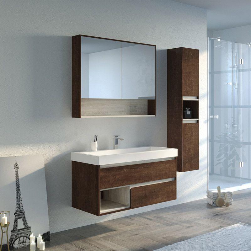 Meuble salle de bain bois foncé ANZIO 1000