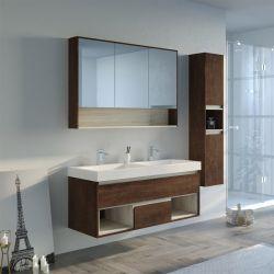 Meuble salle de bain chêne foncé ANZIO 1200