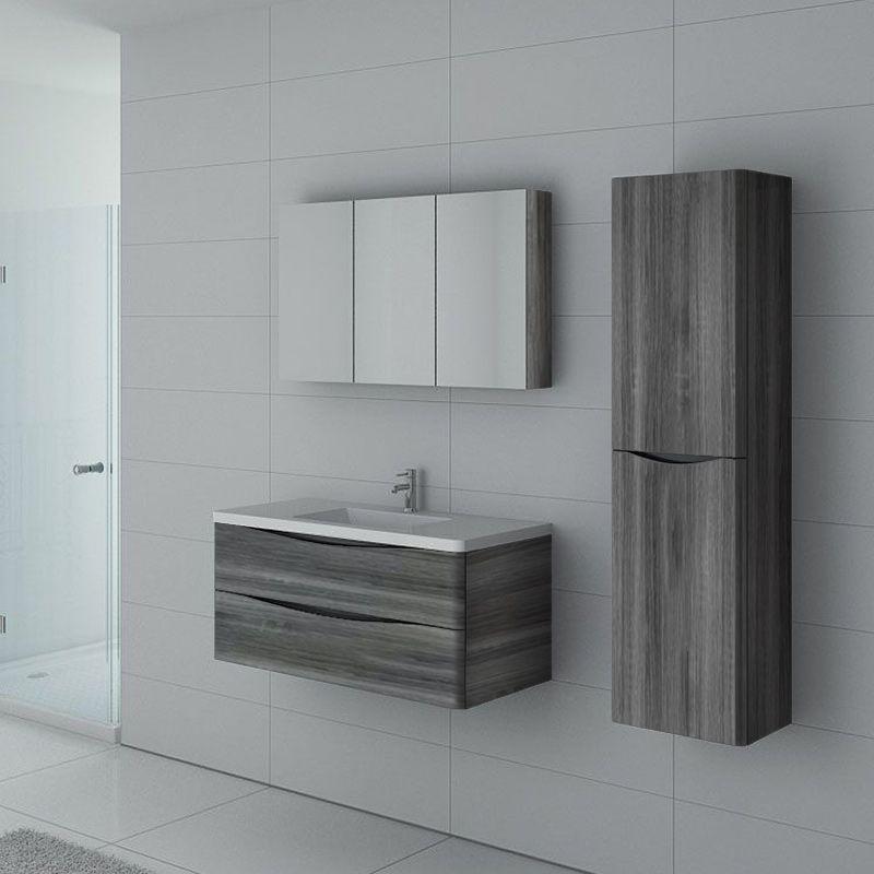 Meuble salle de bain TREVISE 1000 Chêne Gris