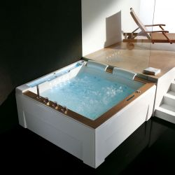 Plan d'implantation baignoire balnéo carrée D-Mataiva whirlpool 35 jets