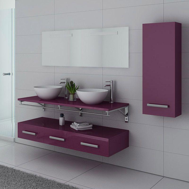 Meubles de salle de bain violet VIRTUOSE DUO Aubergine