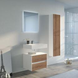 Meuble salle de bain Visenza 600 Scandinave vintage et Blanc