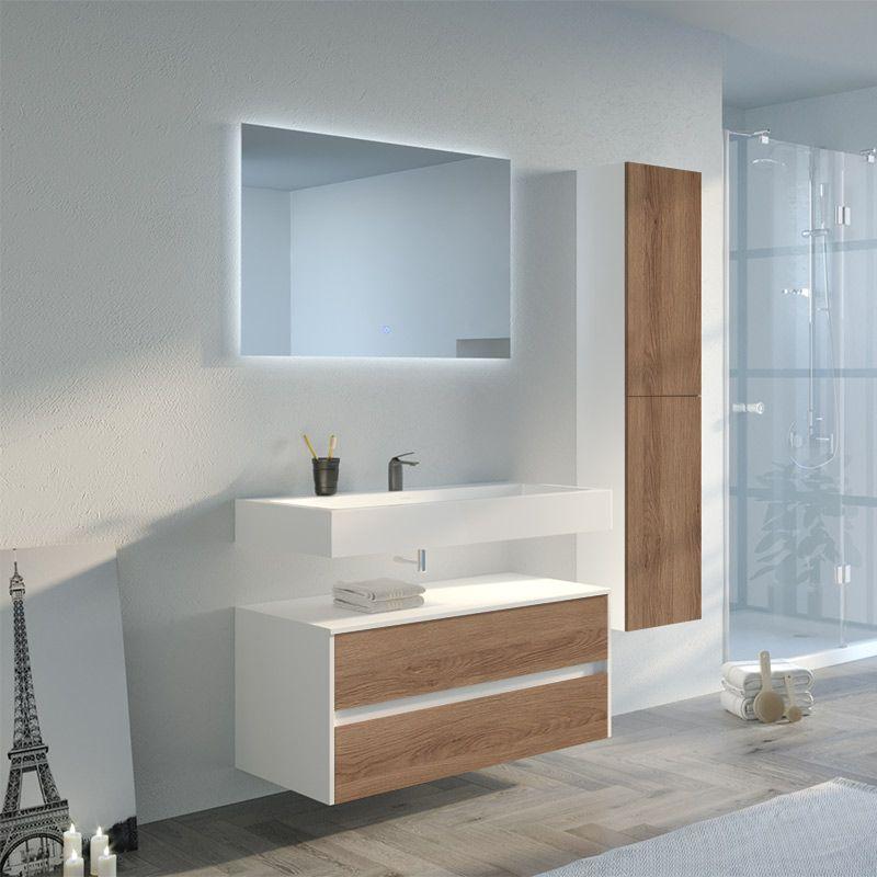 Meuble salle de bain Visenza 1000 Scandinave vintage et Blanc