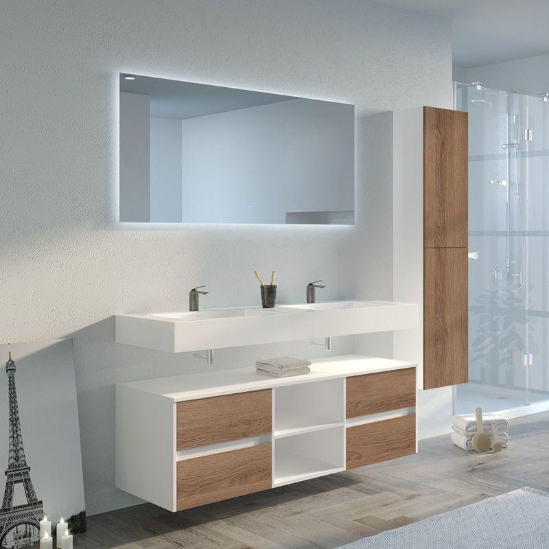 Ensemble de salle de bain double vasque scandinave et blanc Visenza 1400 SV-B