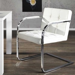 Chaise capitonnée blanche ADVOCAT