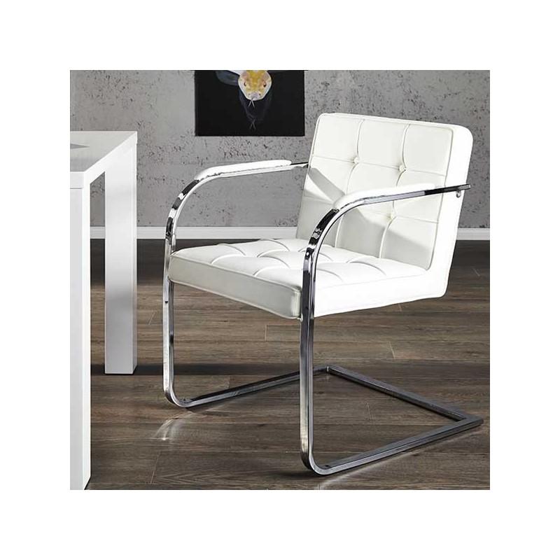 Chaise capitonnée blanche ADVOCAT, chaise capitonnée blanche