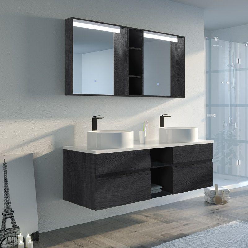 Meuble salle de bain LASPEZIA 1600 Noir
