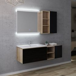Meuble salle de bain simple vasque ALASSIO 800 Noir