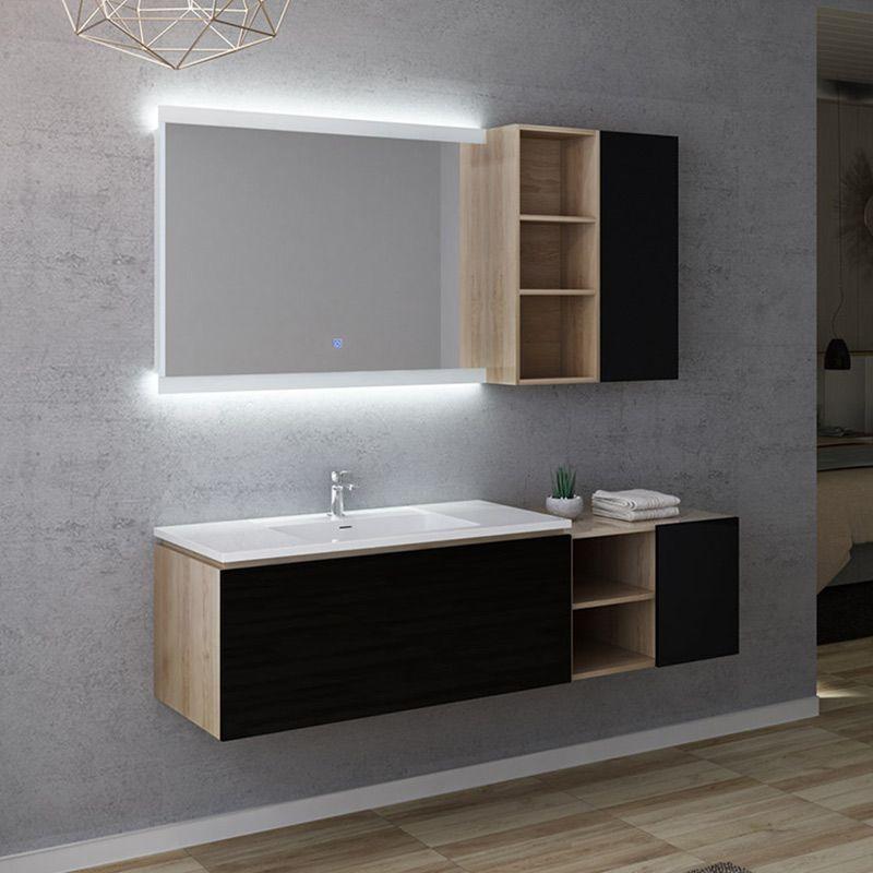 Meuble de salle de bain ALASSIO 1000 bois Scandinave vintage et Noir gloss