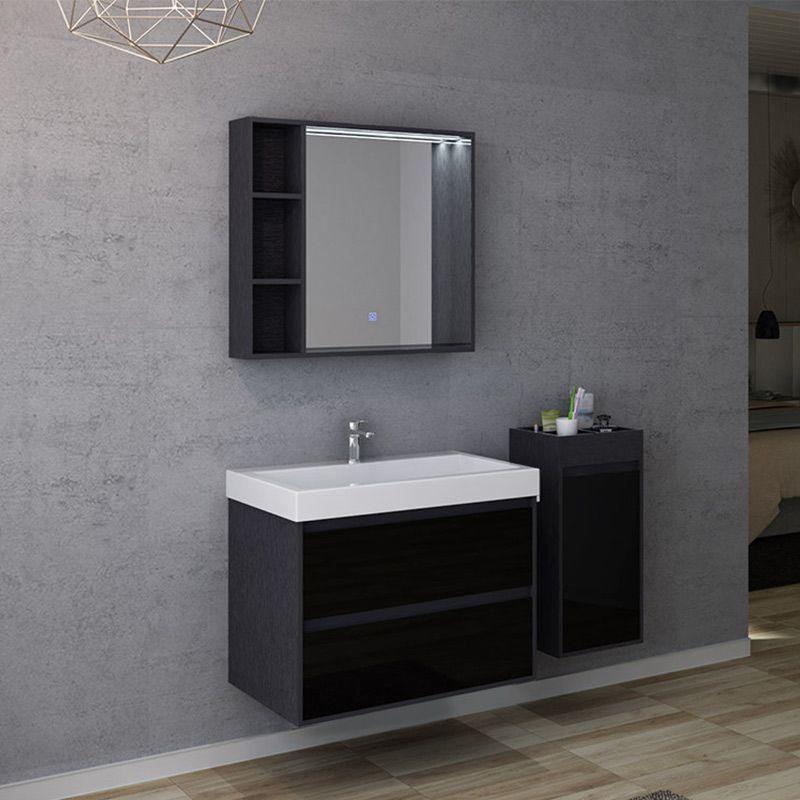 Meuble salle de bain finition verre noir BRIANZA 800