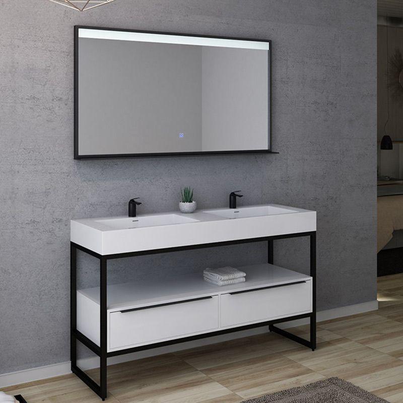 Meuble de salle de bain design LAMEZIA 1400 Blanc