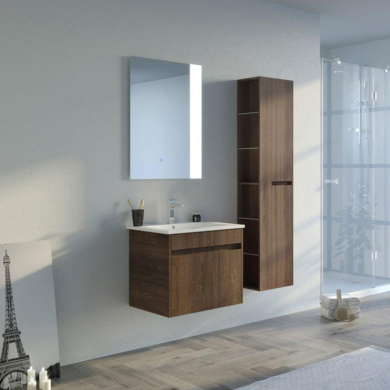 Meuble salle de bain BOVALINO 600 Chêne Foncé
