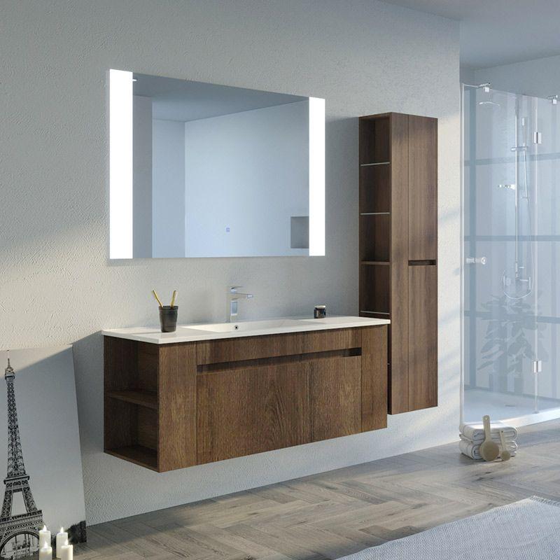 Meuble salle de bain BOVALINO 1200 Chêne Foncé