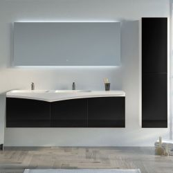 Meuble salle de bain CAGLIARI 1600 Noir