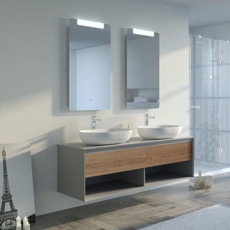Meuble salle de bain BALVANO 1400 Scandinave Vintage et gris