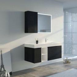 Meuble salle de bain LANCIANO 1200 Noir et Blanc