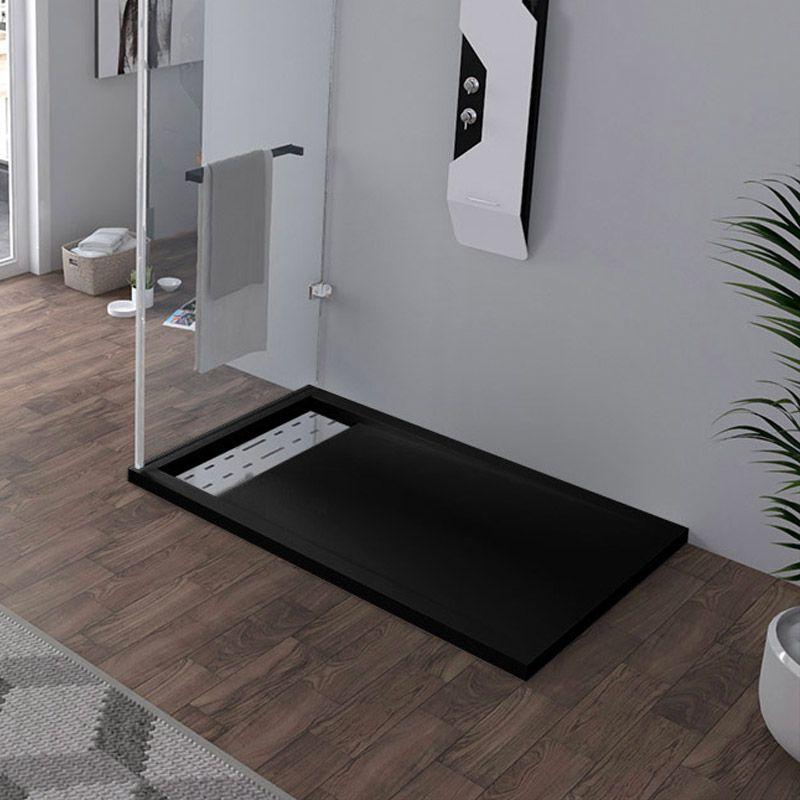 Receveur en gel coat ALICANTE Noir 120x80cm