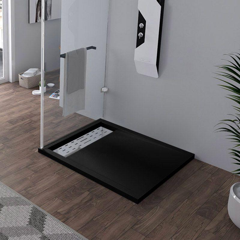 Receveur en gel coat ALICANTE Noir 100x90 cm