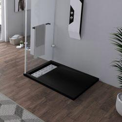 Receveur en gel coat ALICANTE Noir 100x80 cm