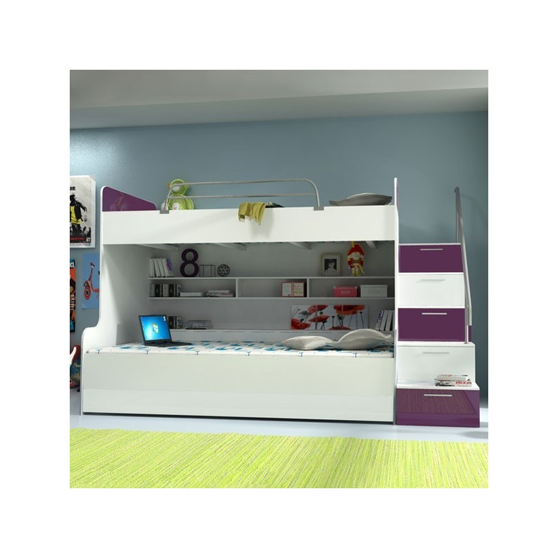 lit mezzanine enfant raj 2 violet et blanc. Black Bedroom Furniture Sets. Home Design Ideas