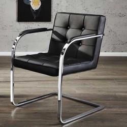 Chaise capitonnée noire ADVOCAT