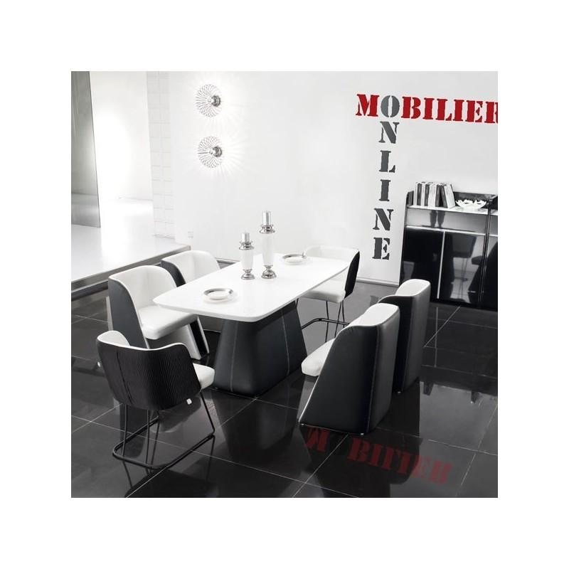 Ensemble table et 6 chaises noir et blanc LOFT