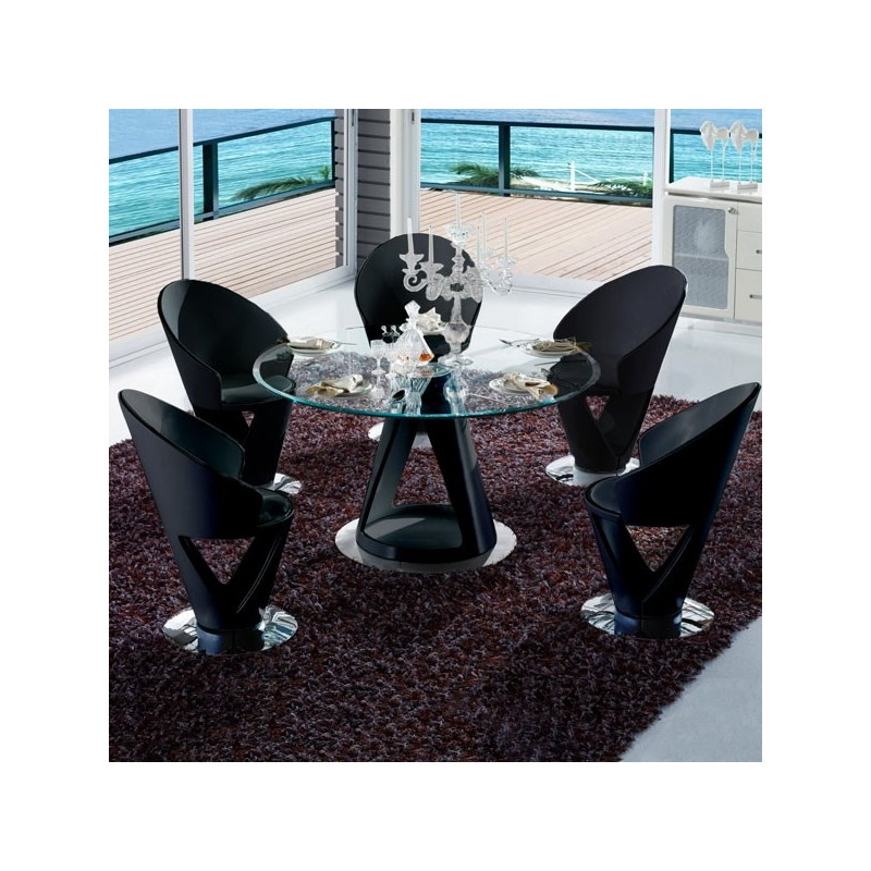 ensemble table ronde et chaises design noir krystal. Black Bedroom Furniture Sets. Home Design Ideas