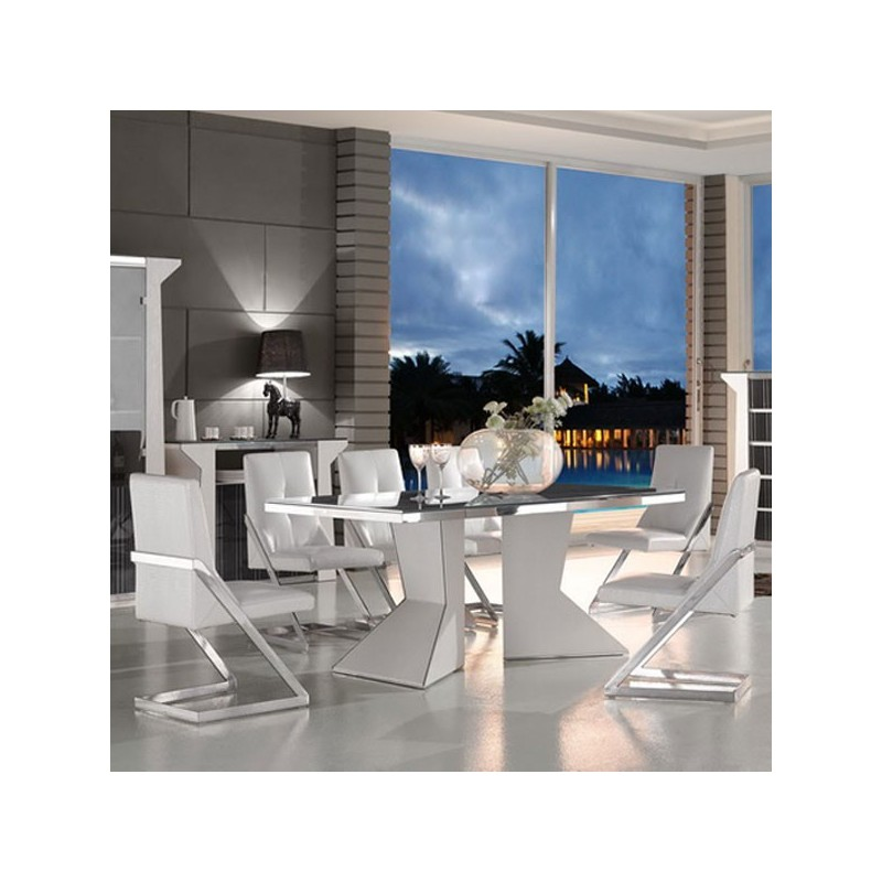 Ensemble salle manger contemporain blanc celeste for Ensemble salle a manger contemporain