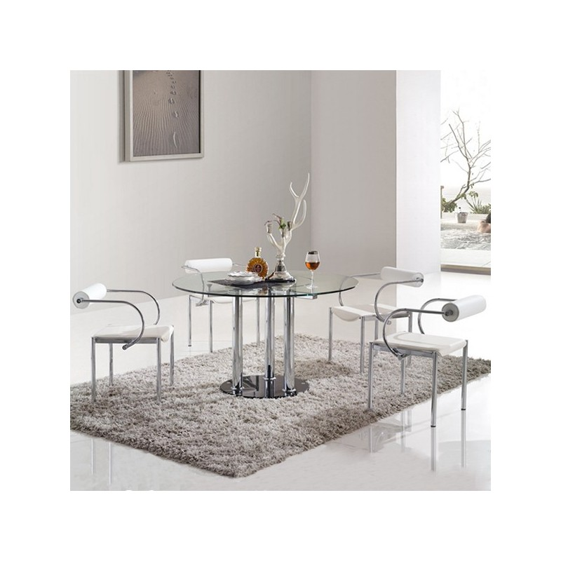 ensemble table ronde et chaises design cosmo. Black Bedroom Furniture Sets. Home Design Ideas
