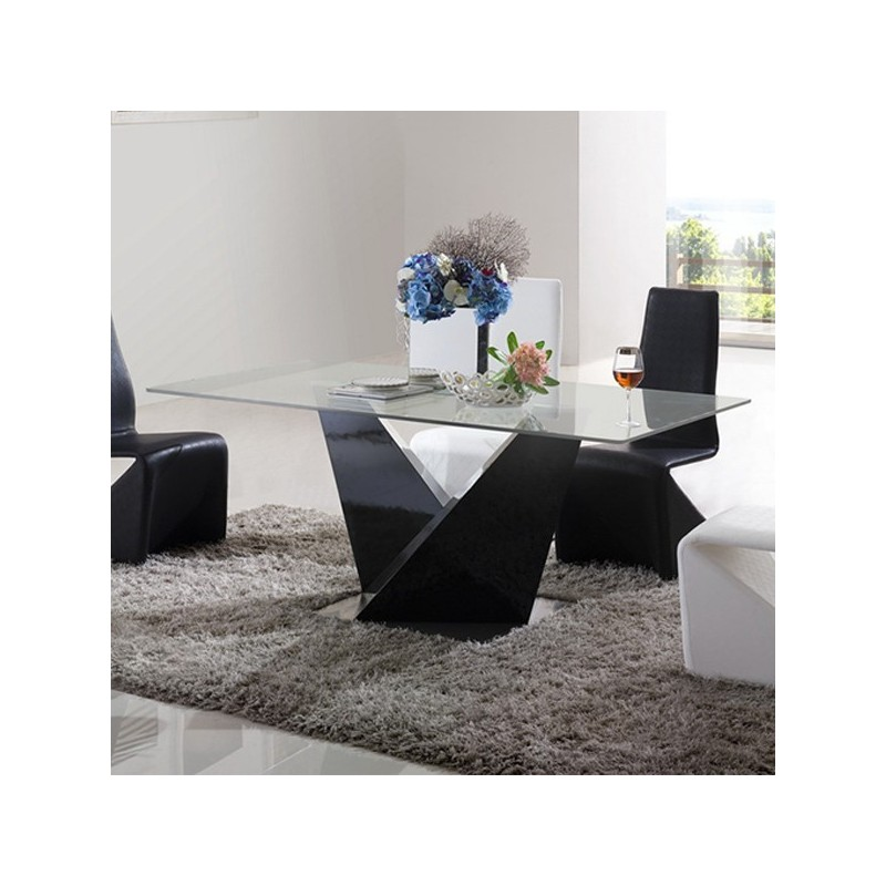 Table manger brooklyn noir for Solde table a manger