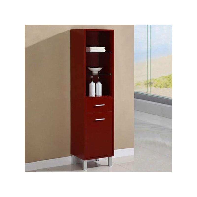 Colonne de rangement de salle de bain en bois massif for Meuble de rangement rouge