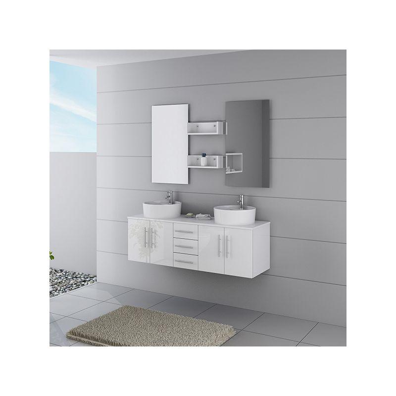 Meuble salle de bain ref dis622b coloris blanc - Salle de bain online ...