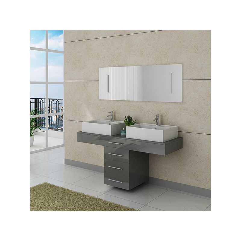 Meuble double vasque gris id es de for Meuble double vasque