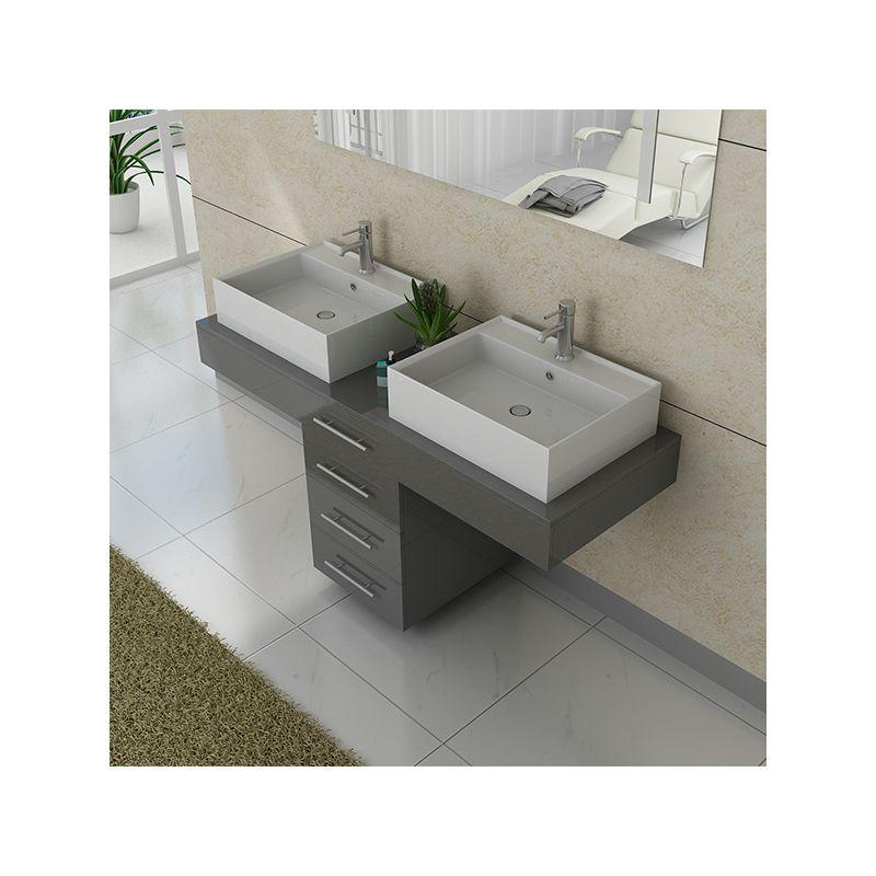 Meuble salle de bain ref dis988gt - Meuble double vasque gris ...