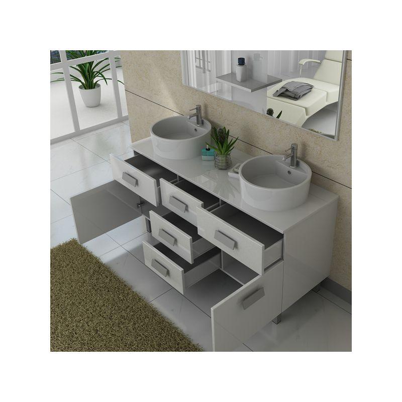 Meuble de salle de bain double vasque ref dis911b for Meuble salle de bain blanc double vasque
