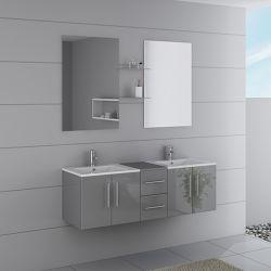 Grand meuble de salle de bain double vasque gris DIS1500GT