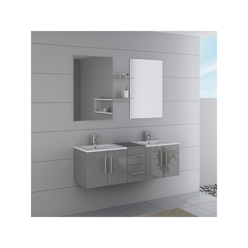 Meuble double vasque ref dis1500gt for Salle de bain 1m de large