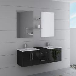 Meuble de salle de bain double vasque noir brillant DIS1500N