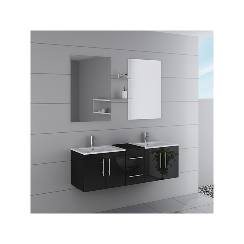 Meuble double vasque ref dis1500n for Meuble salle de bain online
