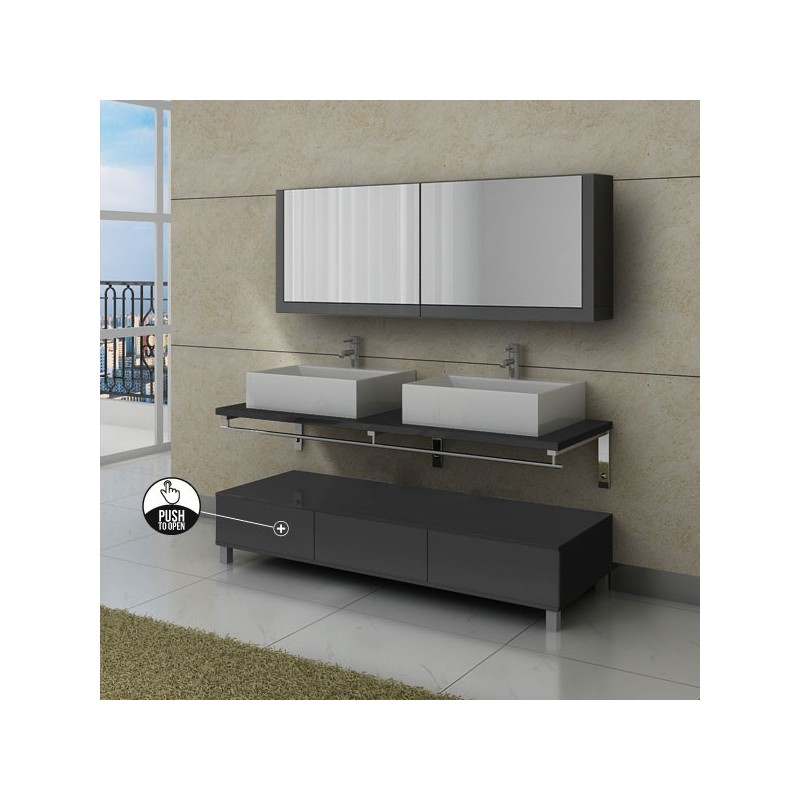 Ensemble de meuble de salle de bain gris avec tiroirs push - Meuble de salle de bain gris ...