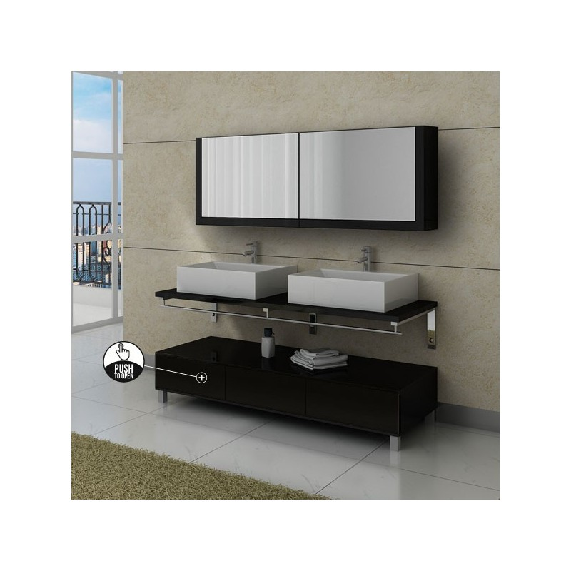 ensemble de meuble de salle de bain noir avec tiroirs push. Black Bedroom Furniture Sets. Home Design Ideas