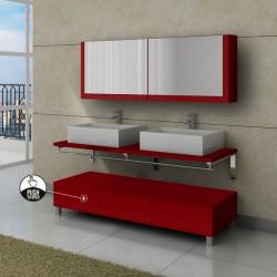 Ensemble de meuble de salle de bain rouge cerise avec tiroirs push to open - Meubles salle de bain rouge ...