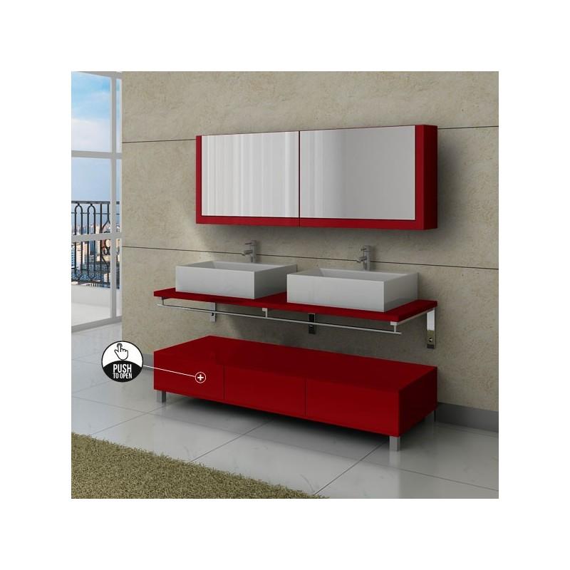 Ensemble de meuble de salle de bain rouge cerise avec for Meubles salle de bain rouge