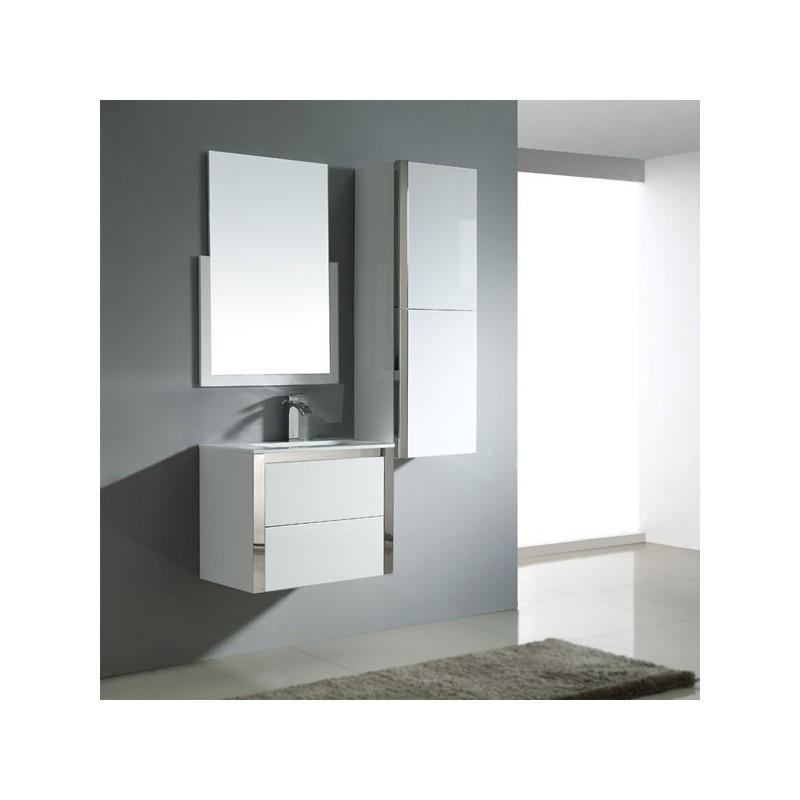 Meuble salle de bain sd025 600 coloris blanc salledebain online - Salle de bain online ...